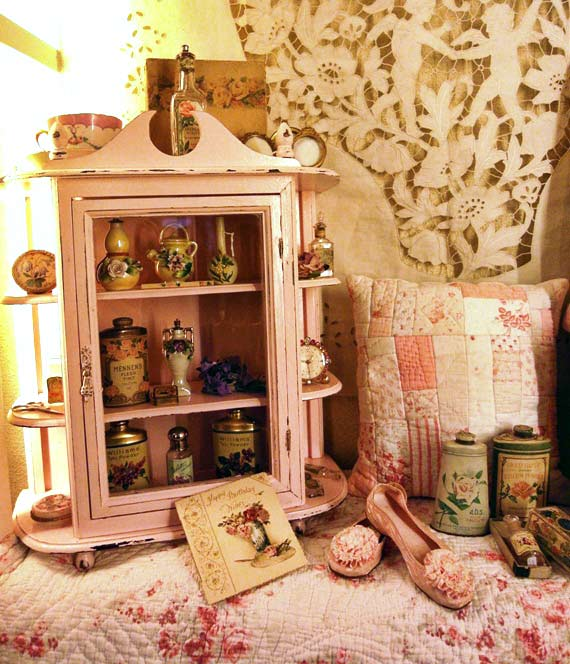 Antique pink French cabinet