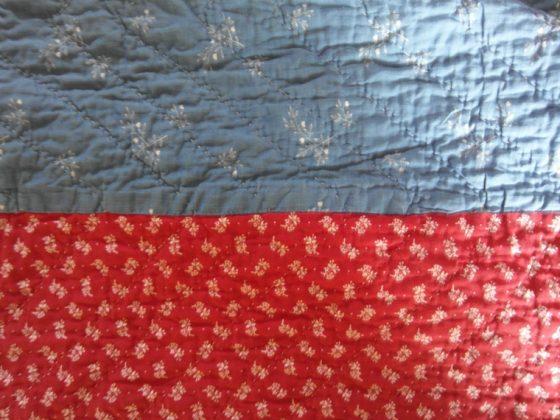 victorian Durham quilt strippy blue calico