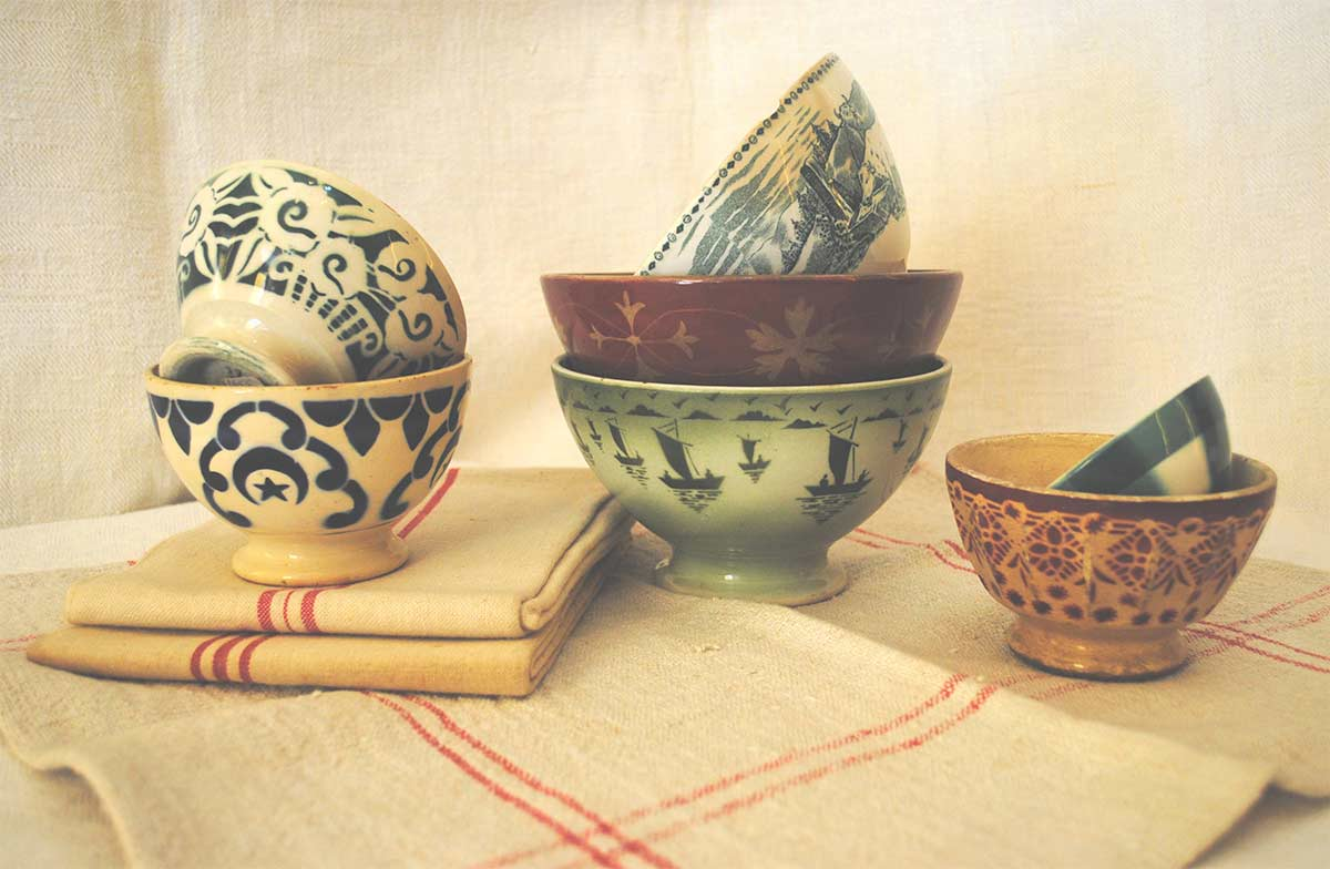 Antique French bowls mix