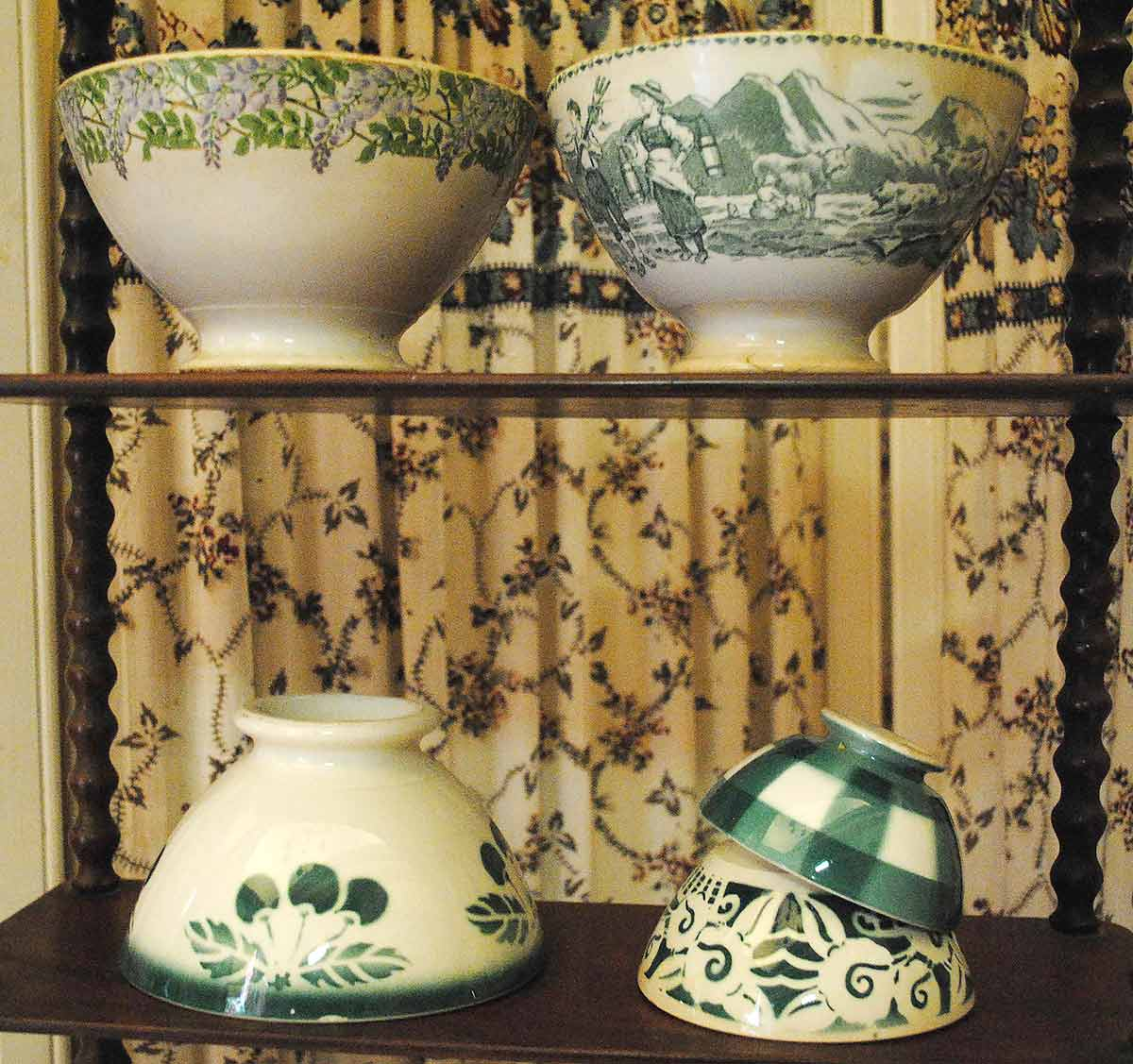 Antique french bowls green selection