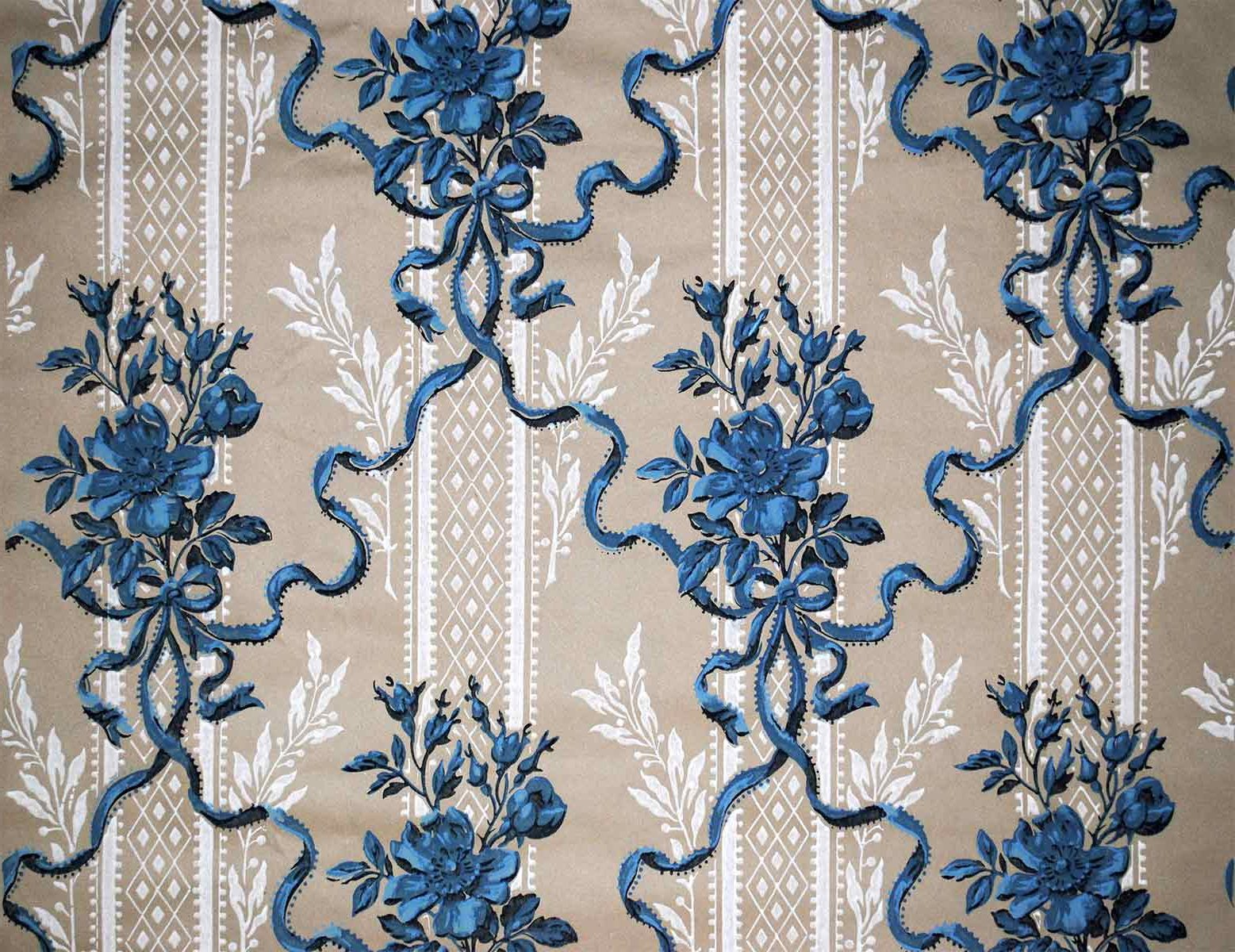 Antique french wallpaper blue ribbons