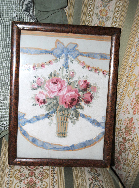 framed wallpaper basket of roses