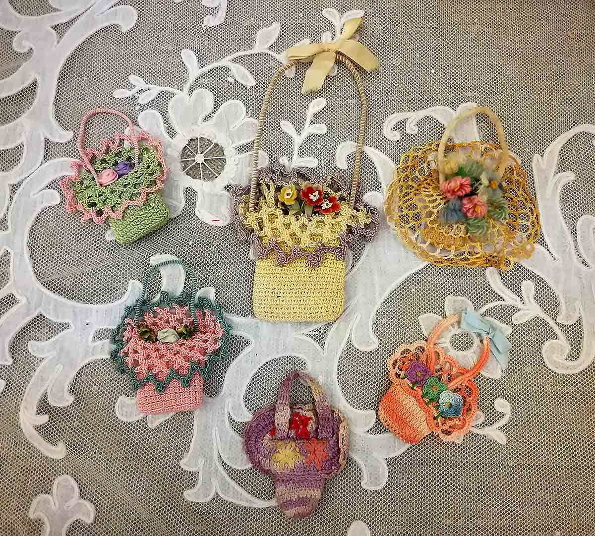 Antique crochet baskets