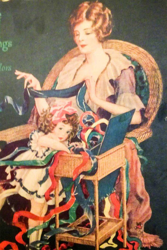 Una lady con il suo cestino da cucito antico