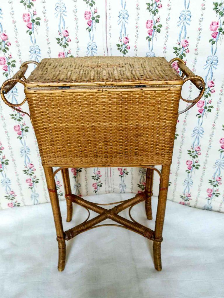 Cestino da cucito antico da boudoir 1