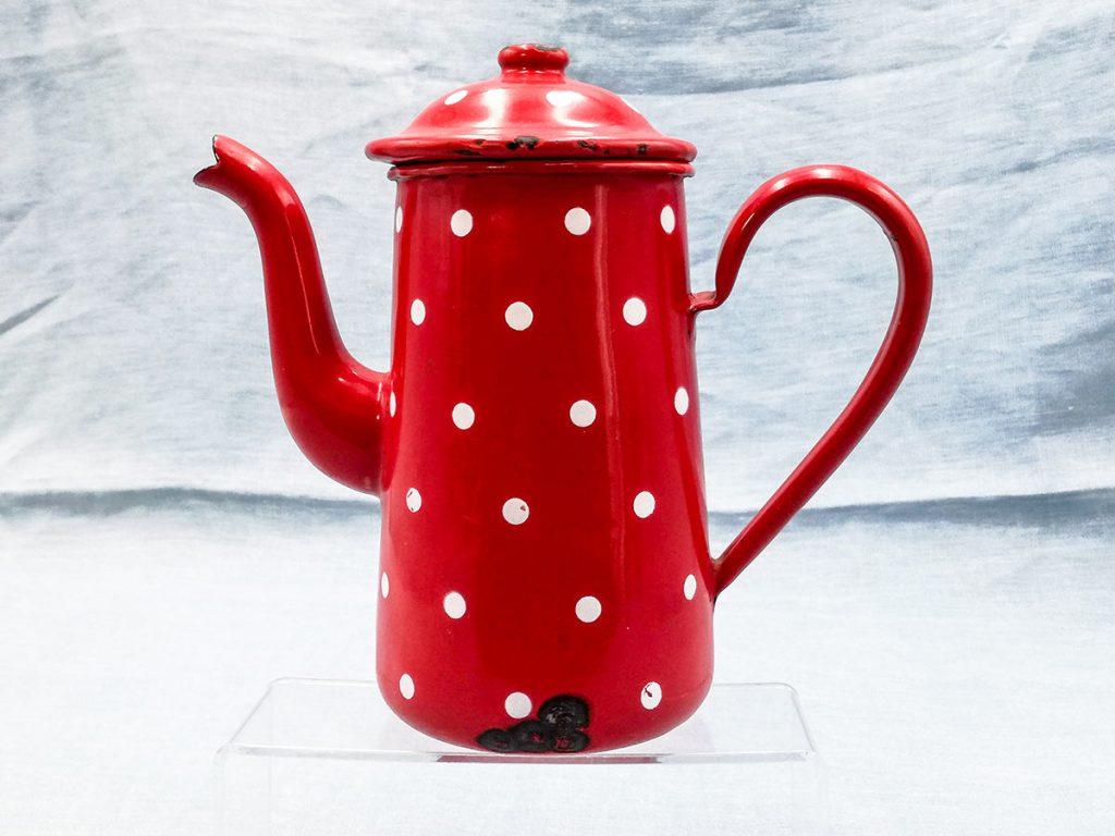 Caffettiera smaltata rossa a pois Duco