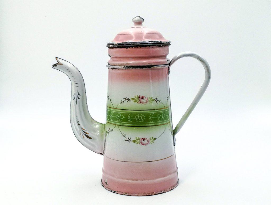 Caffettiera francese antica smalto rosa e verde