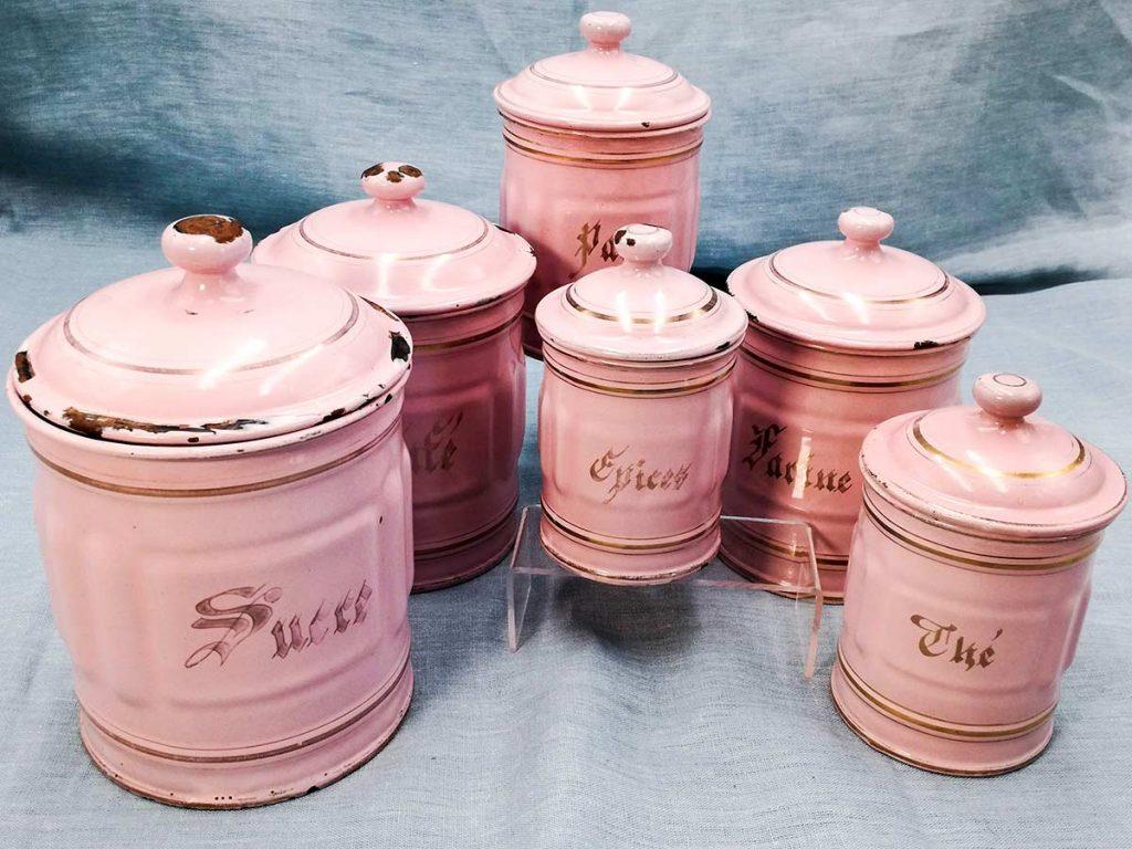 Set di vasi per spezie in smalto francese-rosa