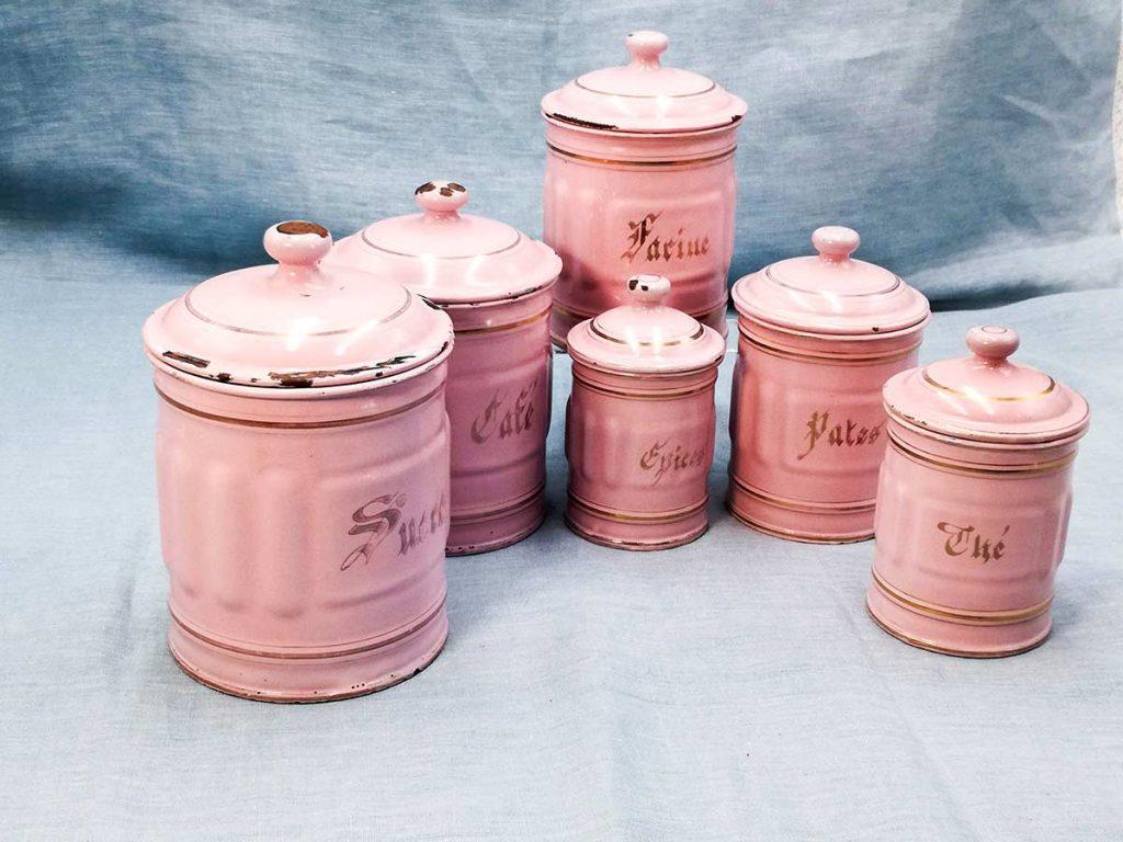 Set vasi per spezie in smalto francese rosa