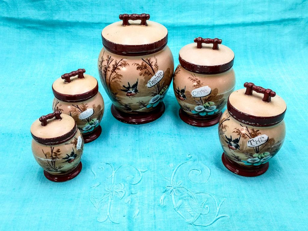 Set vasi spezie in ceramica Creil Monterau