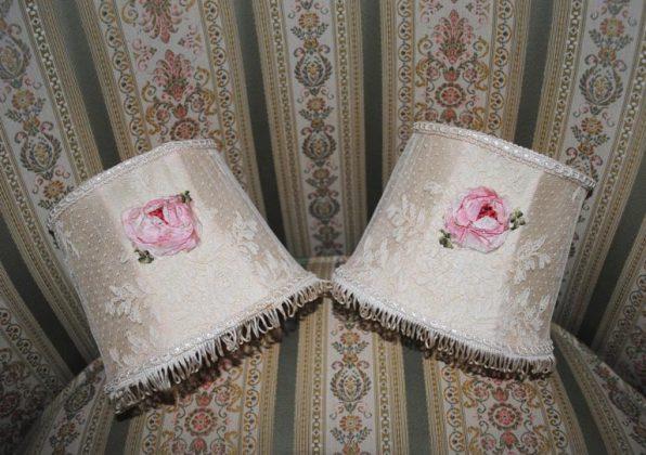 Ribbonwork lampshades roses