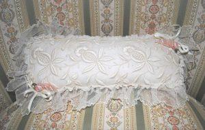 Ribbonwork pincushion rosettes lace