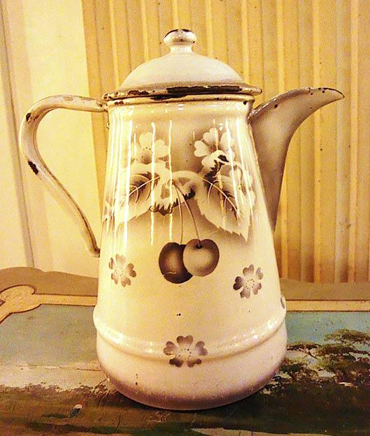 Antique enameled coffee pot Cherries grey