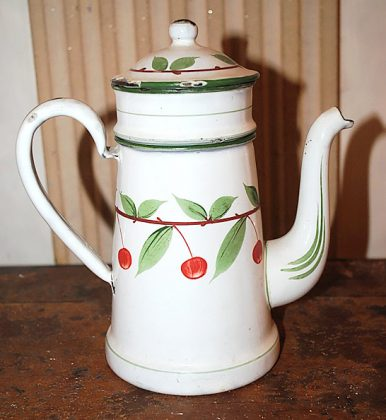 Antique enameled coffee pot red cherries