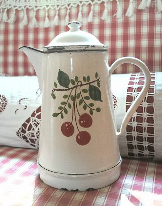 Enameled white coffee pot cerises