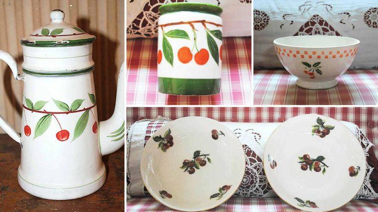 Smalti francesi antichi e ceramiche d'epoca con decoro ciliegie