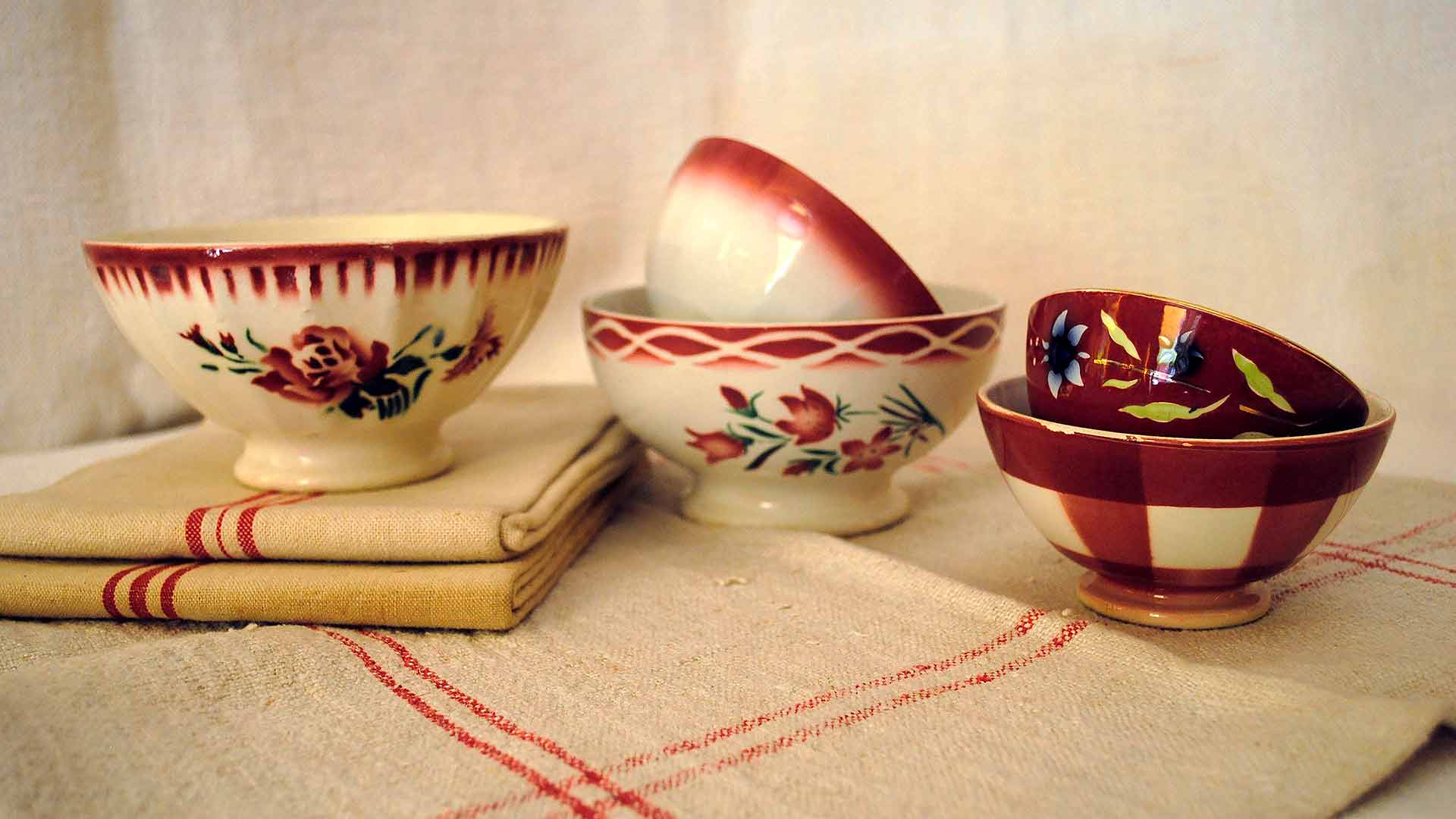 Antique red french bowls