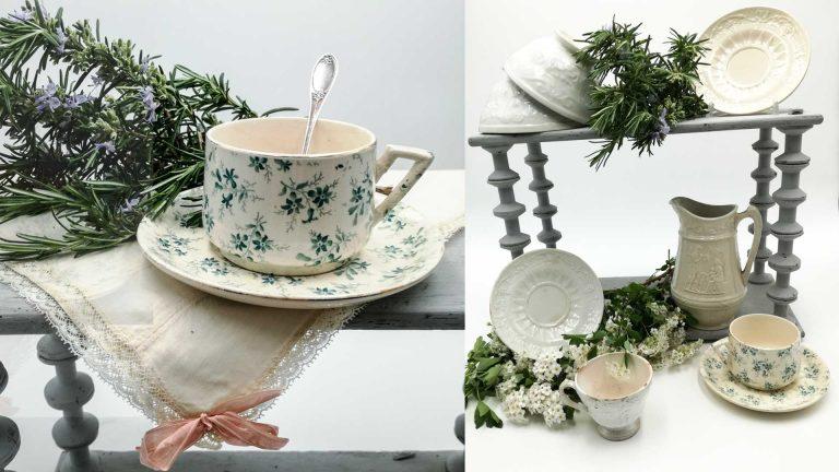 Antiche ceramiche e tazze da caffè latte francesi