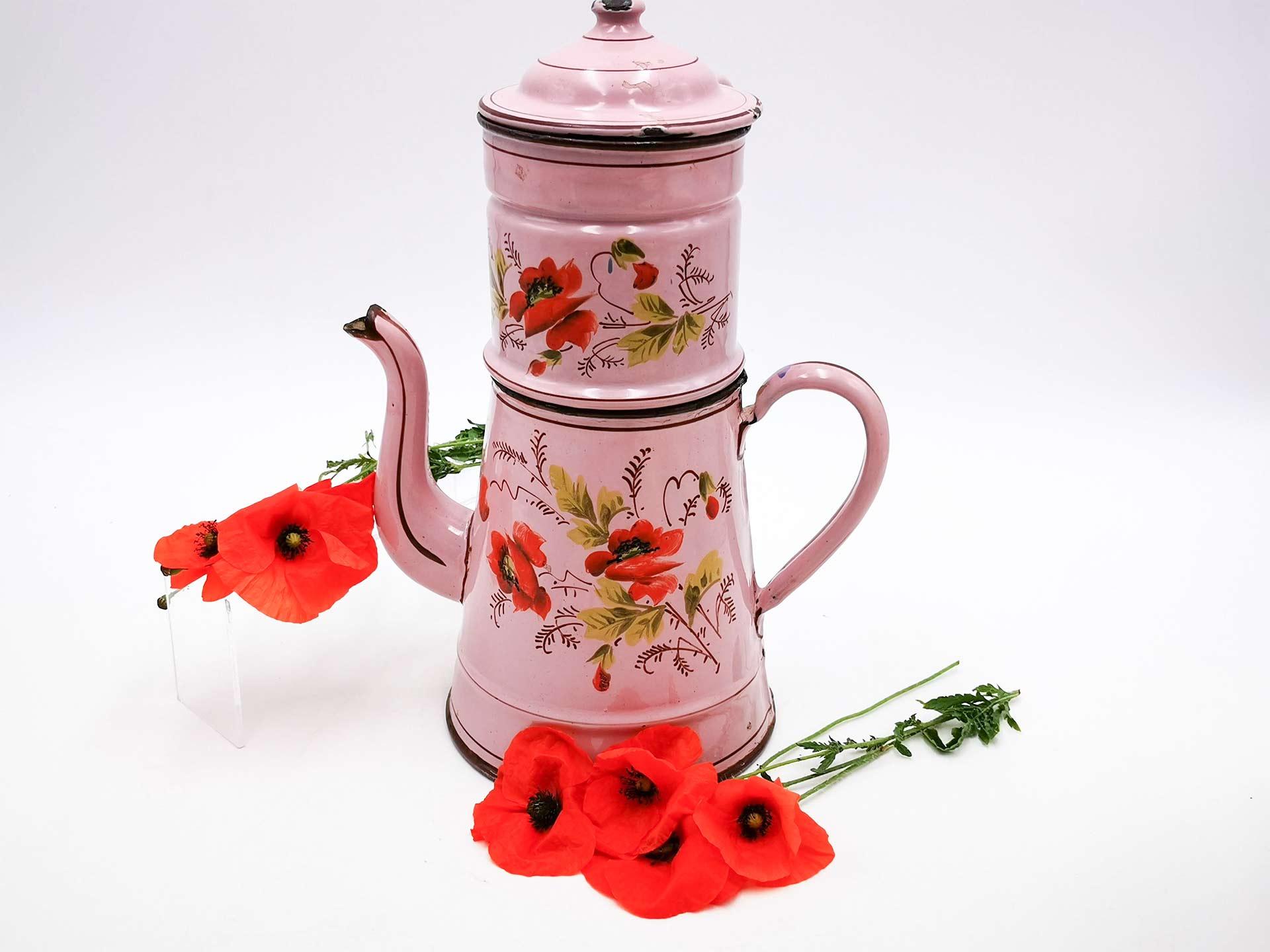 Caffettiere francese antica in smalto rosa con papaveri